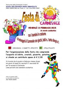 Festa di Carnevale 13 febbraio 2015 scuola dell'infanzia Maria Immacolata