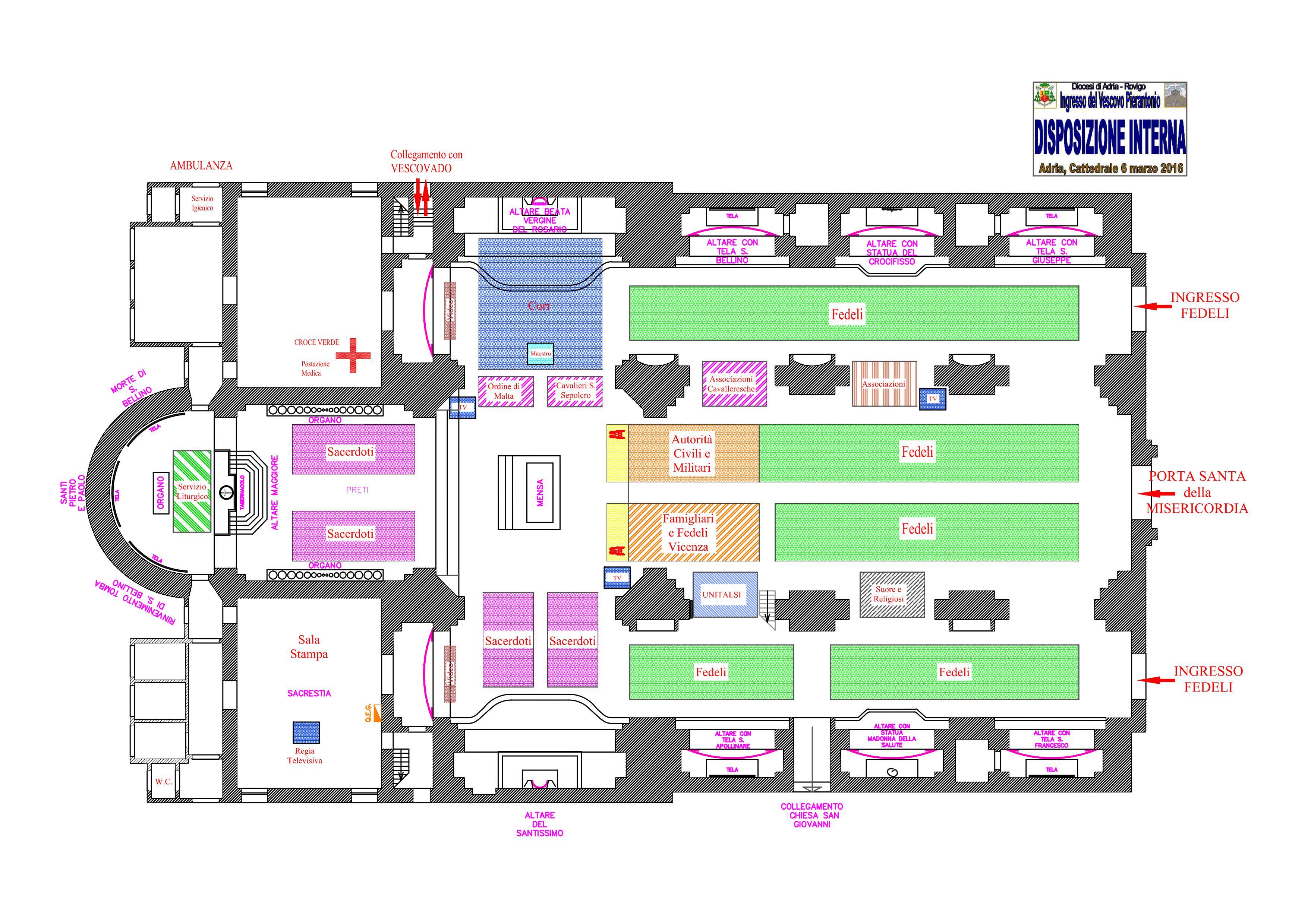 Sistemazione interna alla cattedrale e parcheggi per la for Pianta esterna